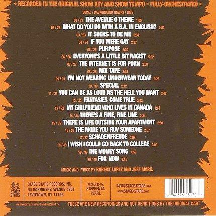 Avenue Q - Broadway Musical - Karaoke Playbacks - CD-Rueckseite