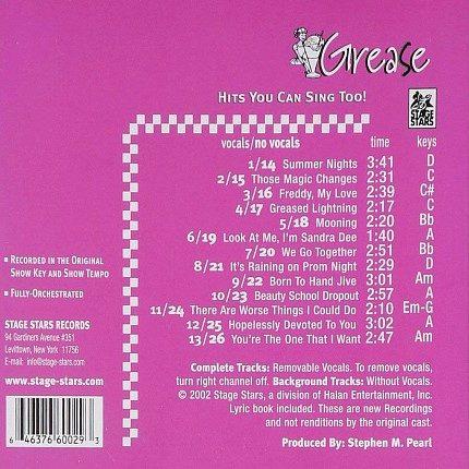 Broadway Musical GREASE - Karaoke Playbacks - CD Rueckseite