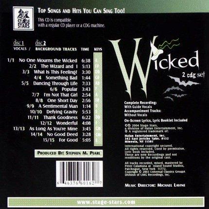 Broadway Musical Wicked – Karaoke Playbacks - CD-Rueckseite