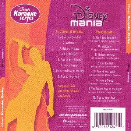 Disney's Series - Disney-Mania - Karaoke Playbacks - CD+G - Rueckseite