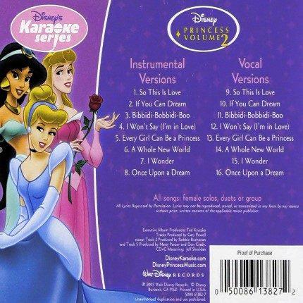 Disney's Series - Princess Vol. 2 - Karaoke Playbacks - CD+G - Rueckseite