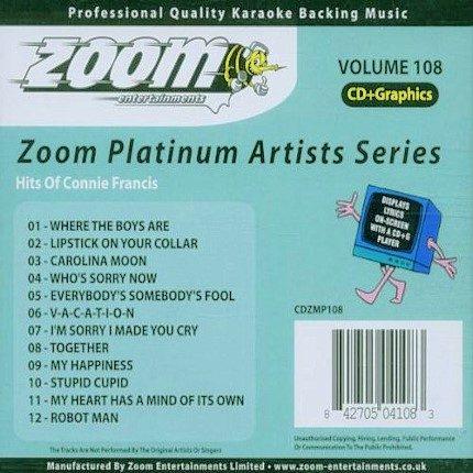 Zoom Platinum Artists - Volume 108 - Hits Of Connie Francis - Karaoke Playbacks - Back