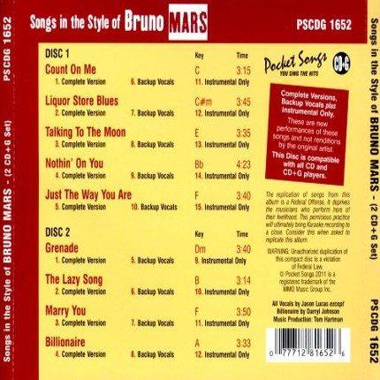 Bruno Mars - Karaoke Playbacks - PSCD 1652 - CD-Rueckseite